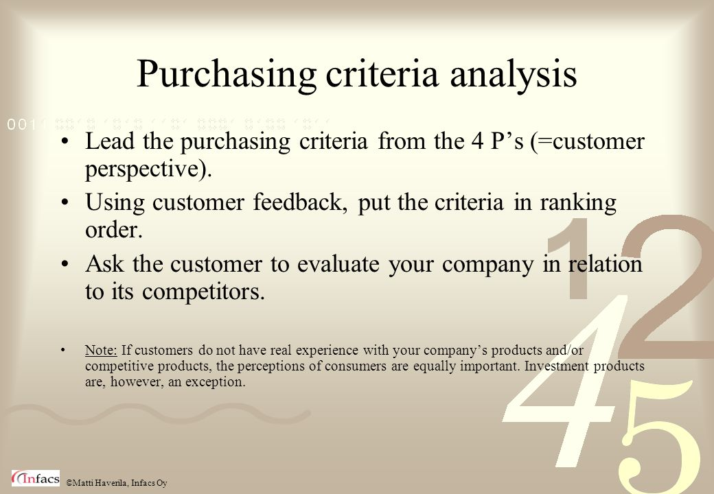 Purchasing criteria analysis