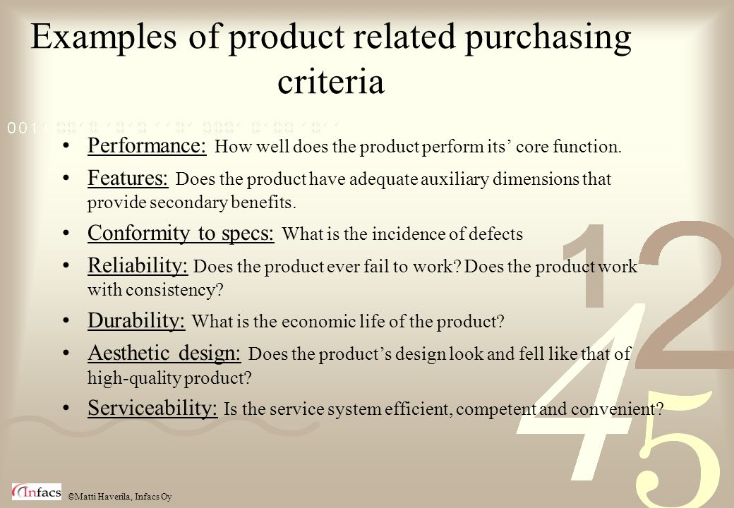 Examples of product related purchasing criteria