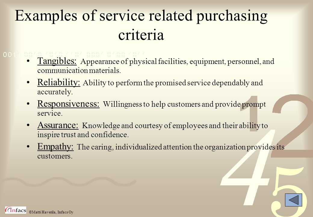 Examples of service related purchasing criteria