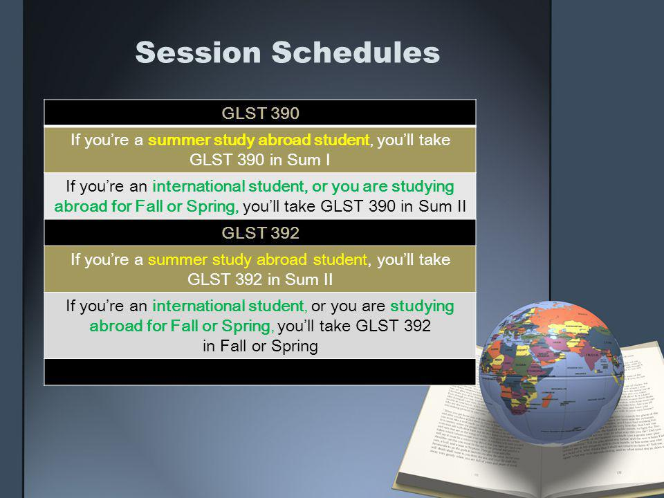 If you're a summer study abroad student, you'll take GLST 390 in Sum I