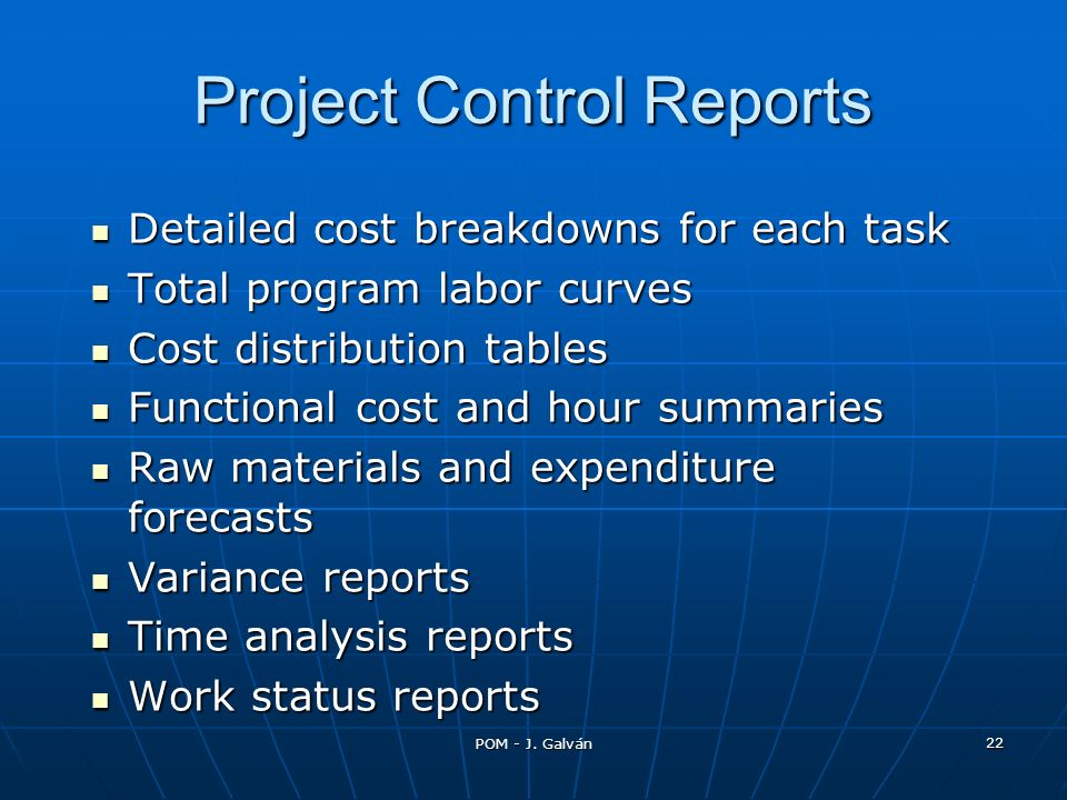 Project Control Reports