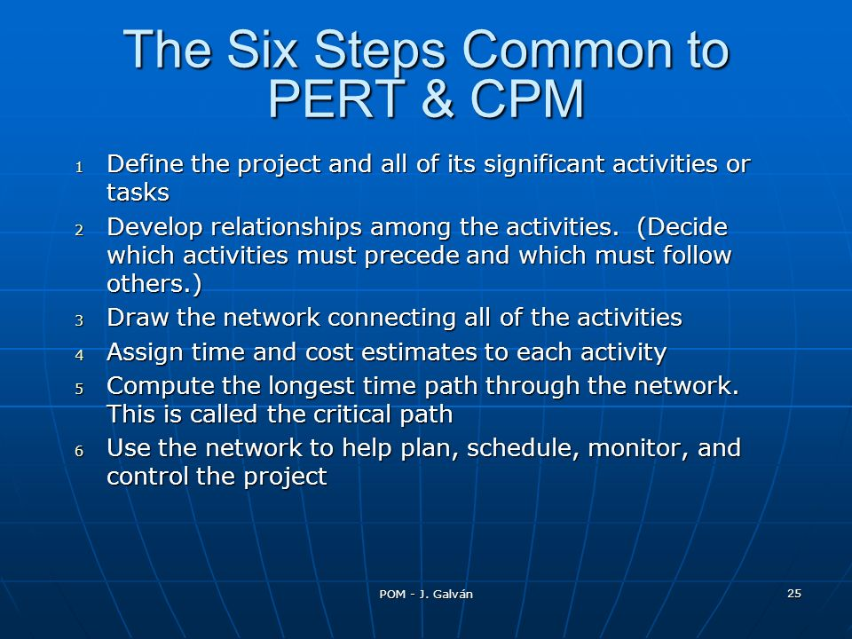 The Six Steps Common to PERT & CPM