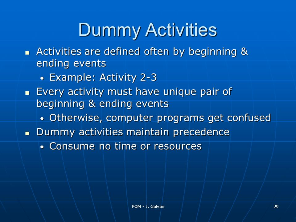 Dummy Activities Activities are defined often by beginning & ending events. Example: Activity 2-3.