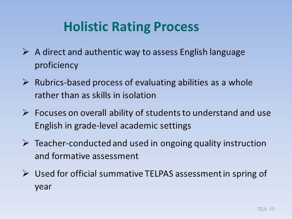 Holistic Rating Process