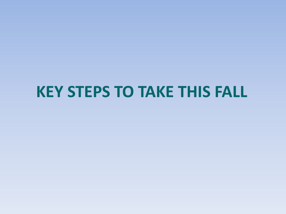 Key Steps to Take This Fall