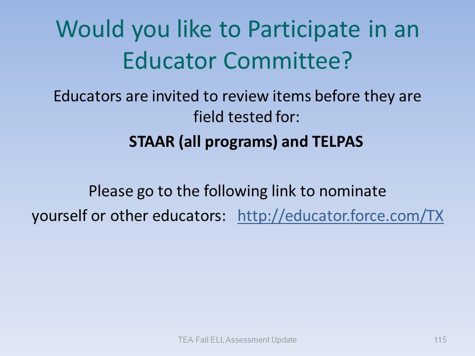 Would you like to Participate in an Educator Committee
