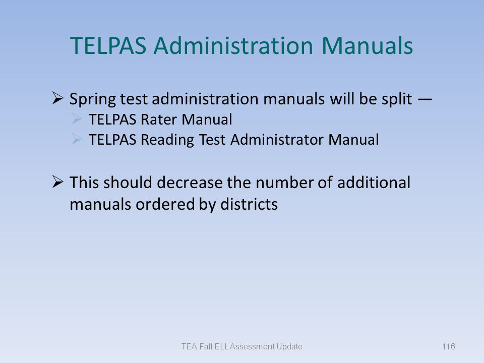 TELPAS Administration Manuals
