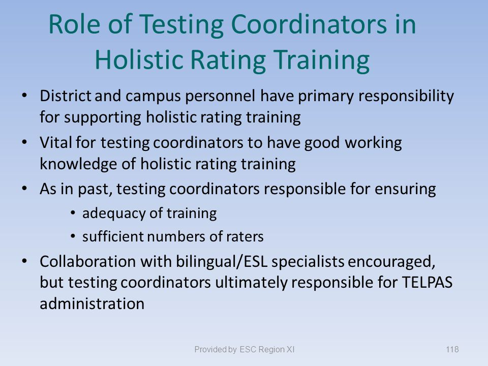 Role of Testing Coordinators in Holistic Rating Training