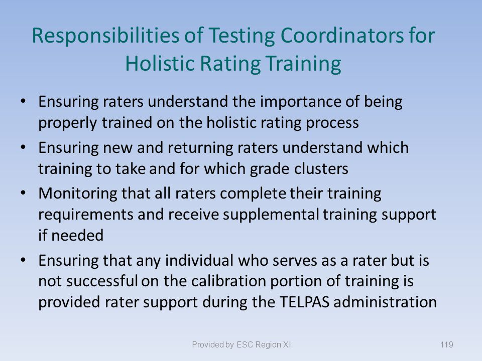 Responsibilities of Testing Coordinators for Holistic Rating Training