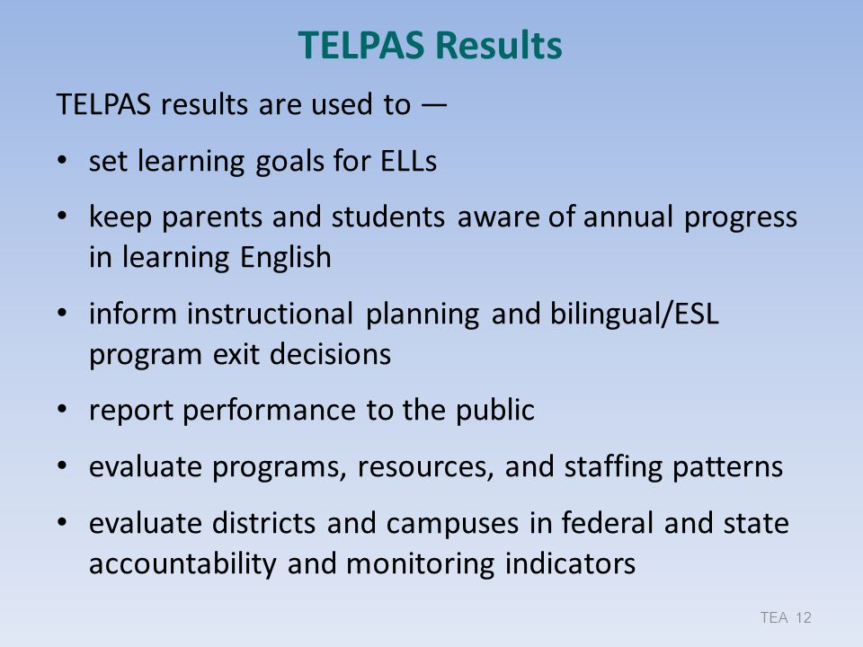 TELPAS Results TELPAS results are used to —