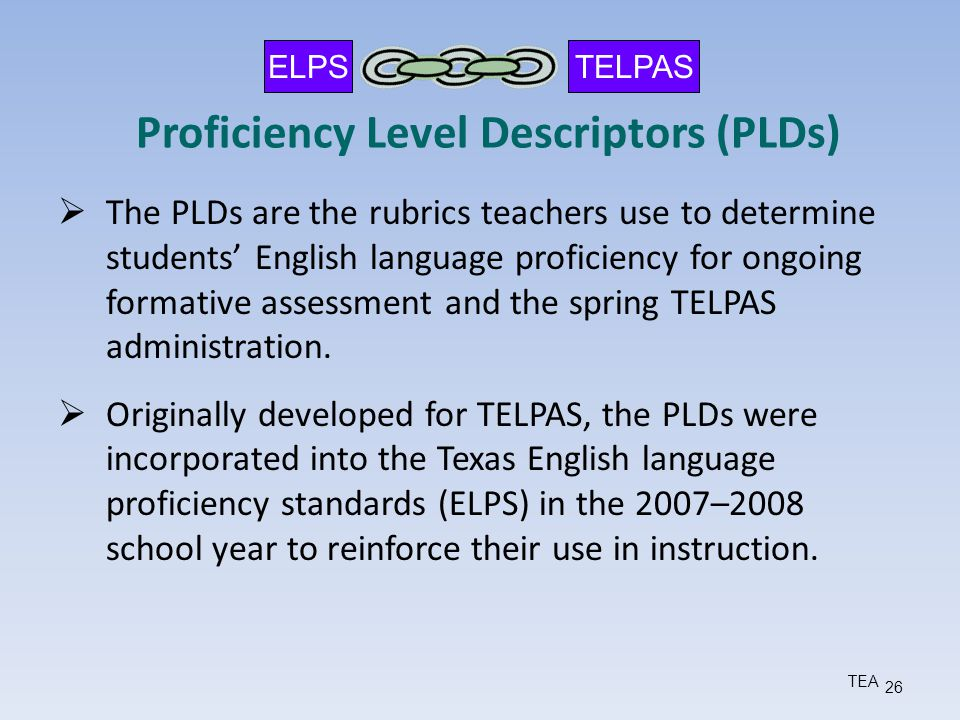 Proficiency Level Descriptors (PLDs)