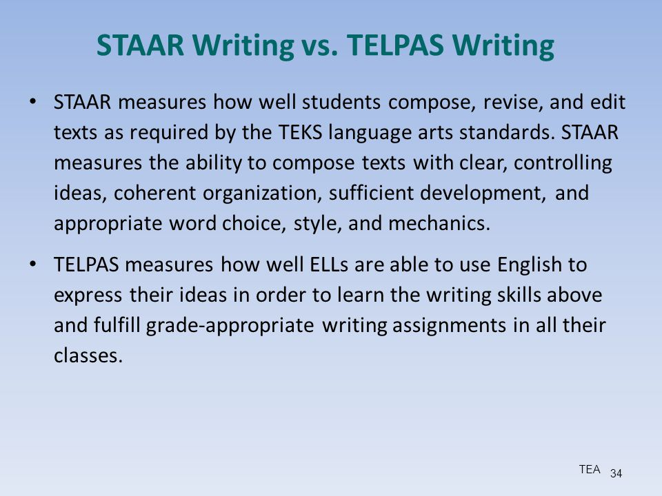 STAAR Writing vs. TELPAS Writing