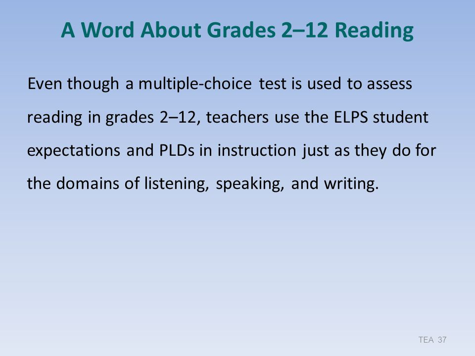 A Word About Grades 2–12 Reading