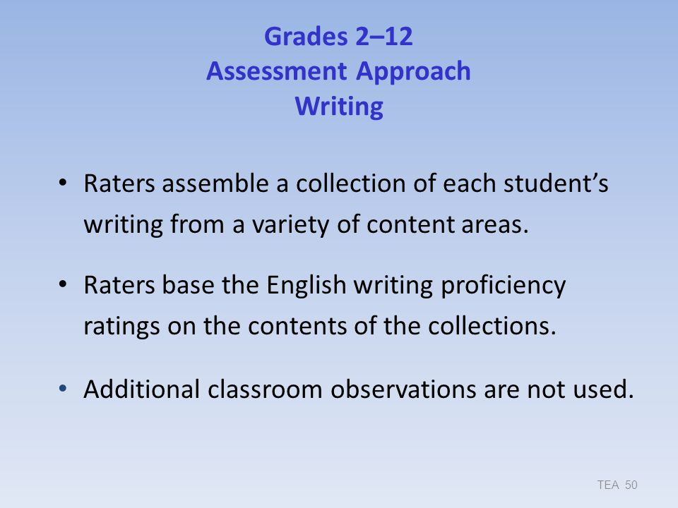 Grades 2–12 Assessment Approach Writing