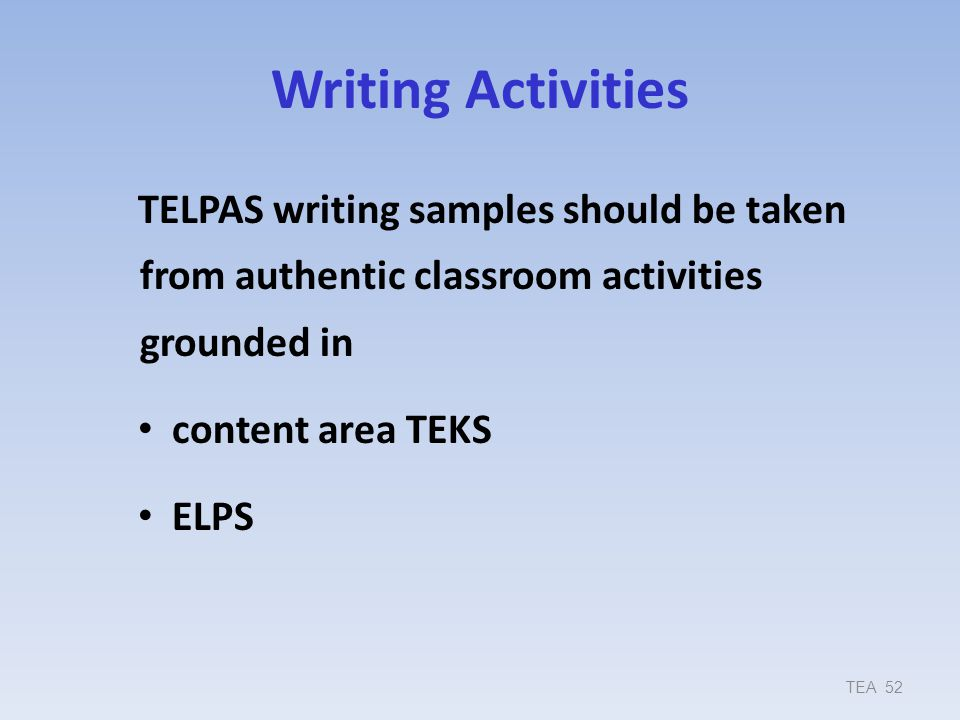 9/17/2013 Writing Activities. TELPAS writing samples should be taken from authentic classroom activities grounded in.