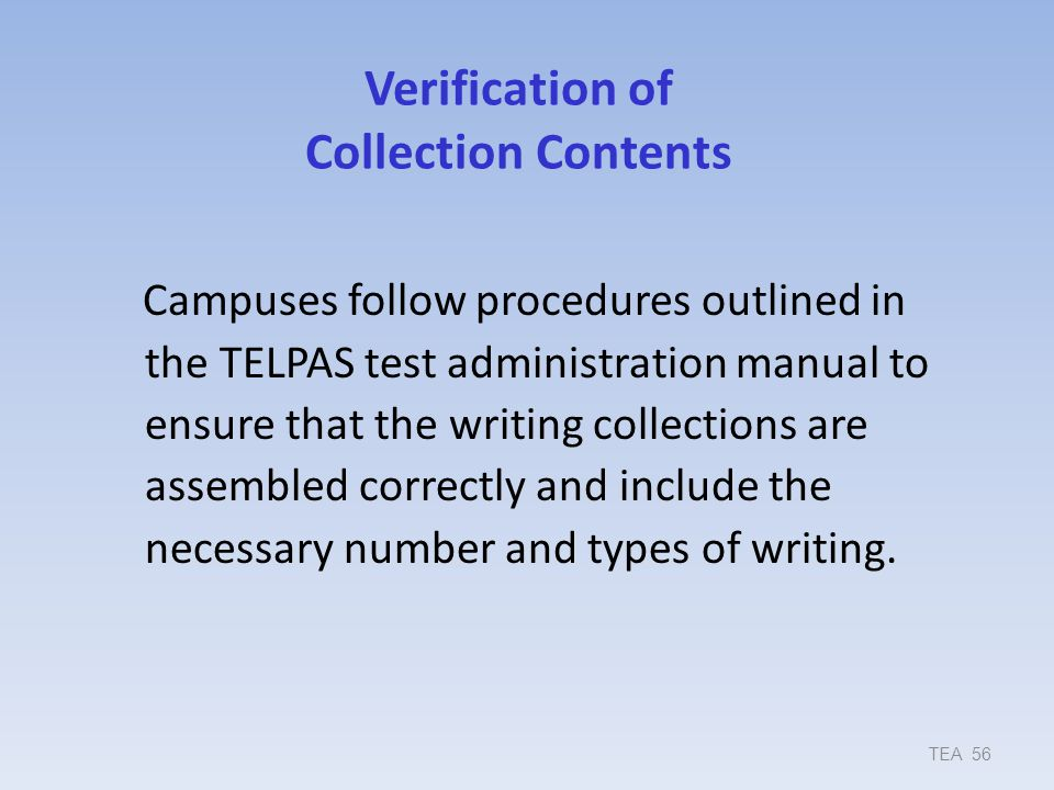 Verification of Collection Contents