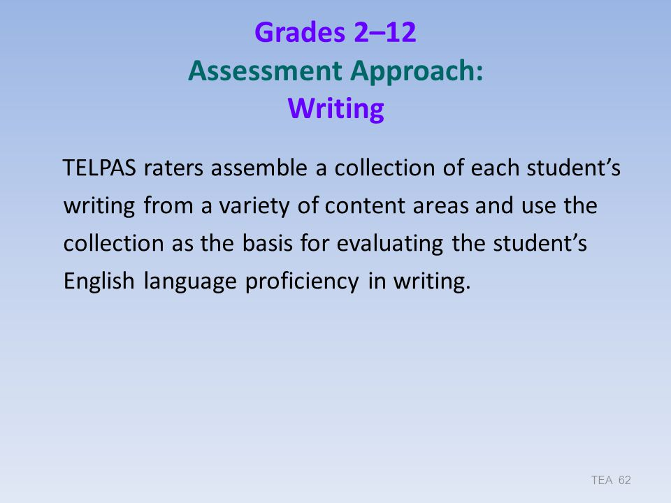 Grades 2–12 Assessment Approach: Writing