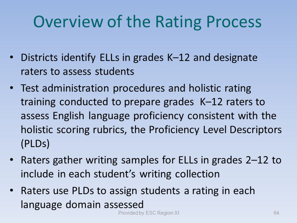 Overview of the Rating Process