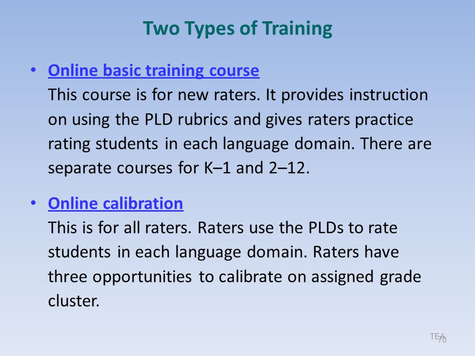 9/17/2013 Two Types of Training.