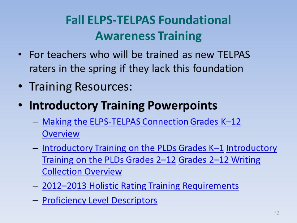 Fall ELPS-TELPAS Foundational Awareness Training