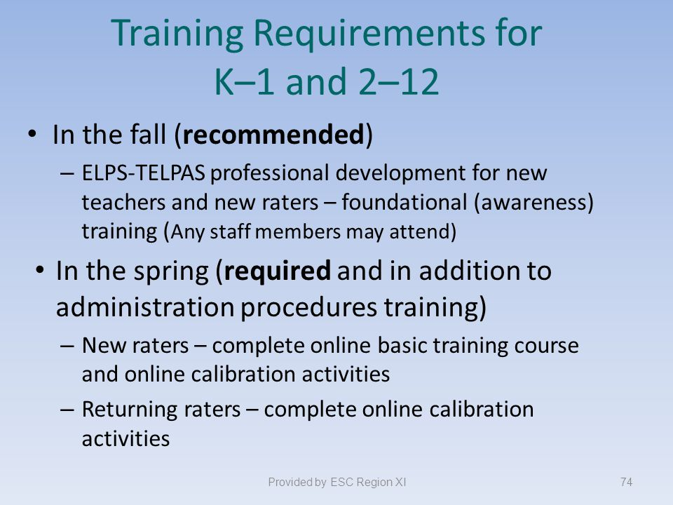 Training Requirements for K–1 and 2–12