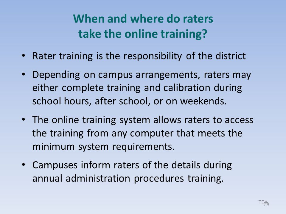 When and where do raters take the online training