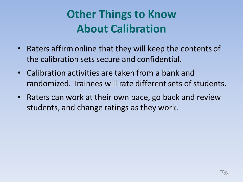 Other Things to Know About Calibration
