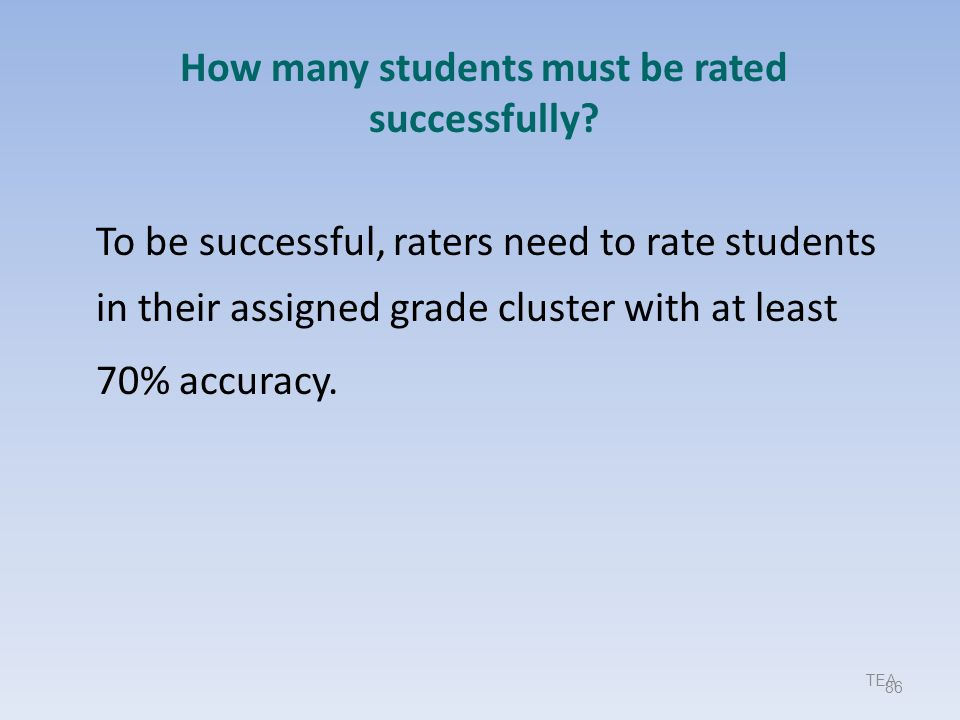 How many students must be rated successfully