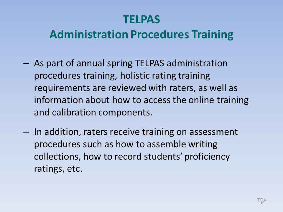 TELPAS Administration Procedures Training