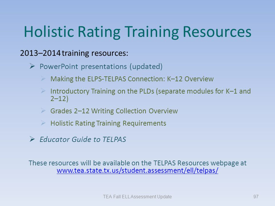 Holistic Rating Training Resources