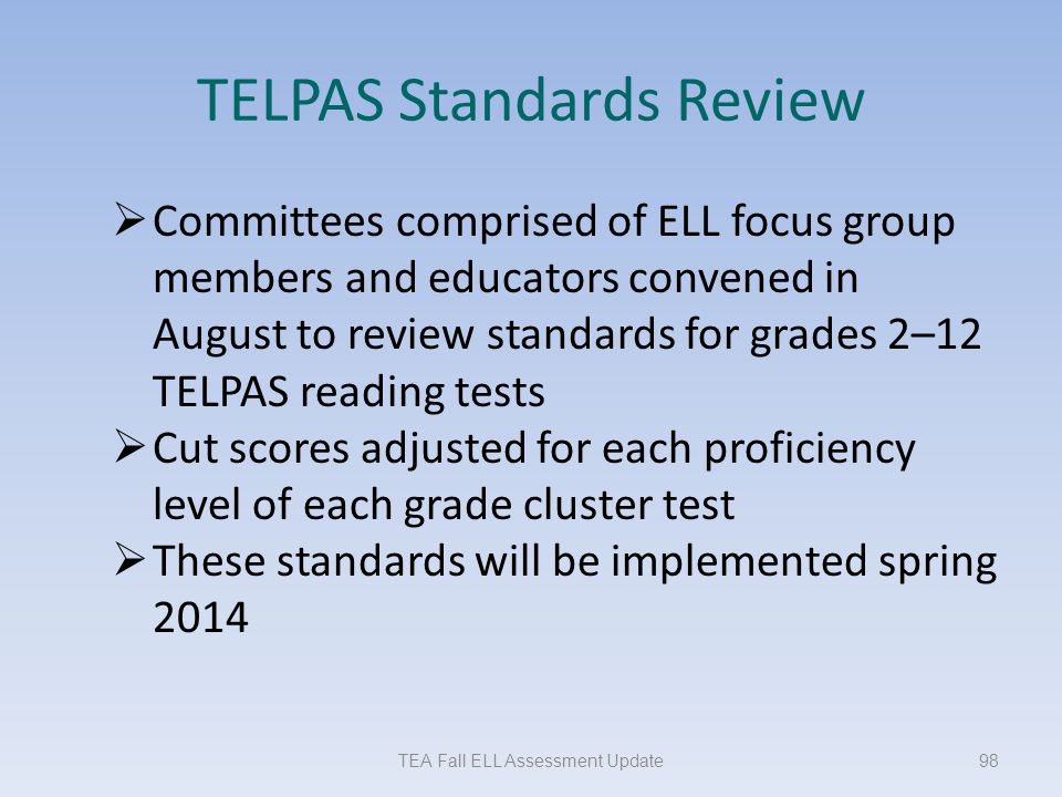 TELPAS Standards Review