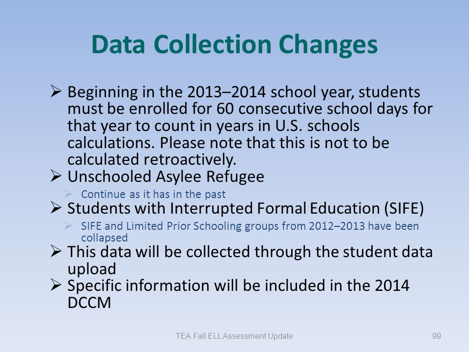 Data Collection Changes