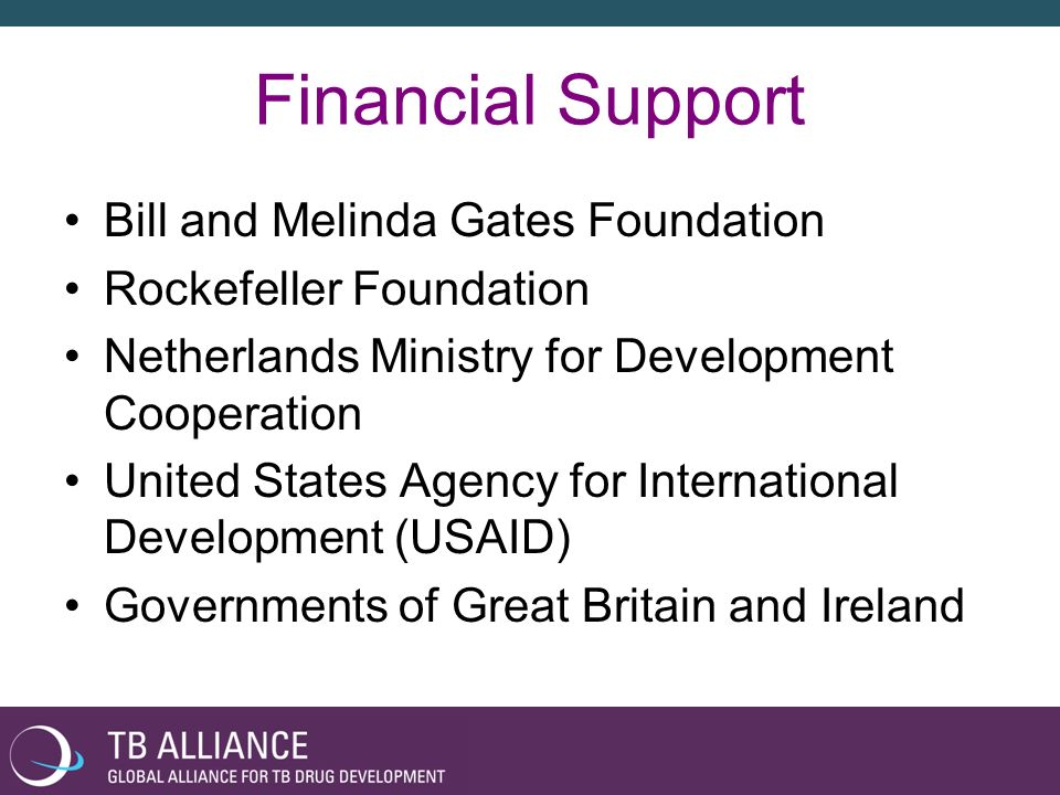 Financial Support Bill and Melinda Gates Foundation