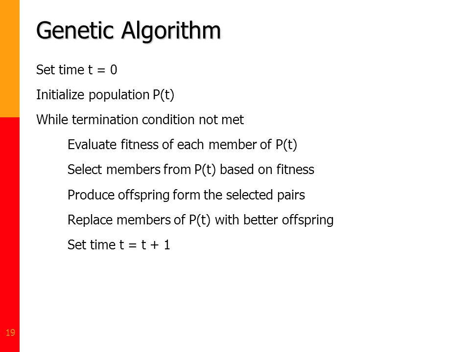 Genetic Algorithm Set time t = 0 Initialize population P(t)
