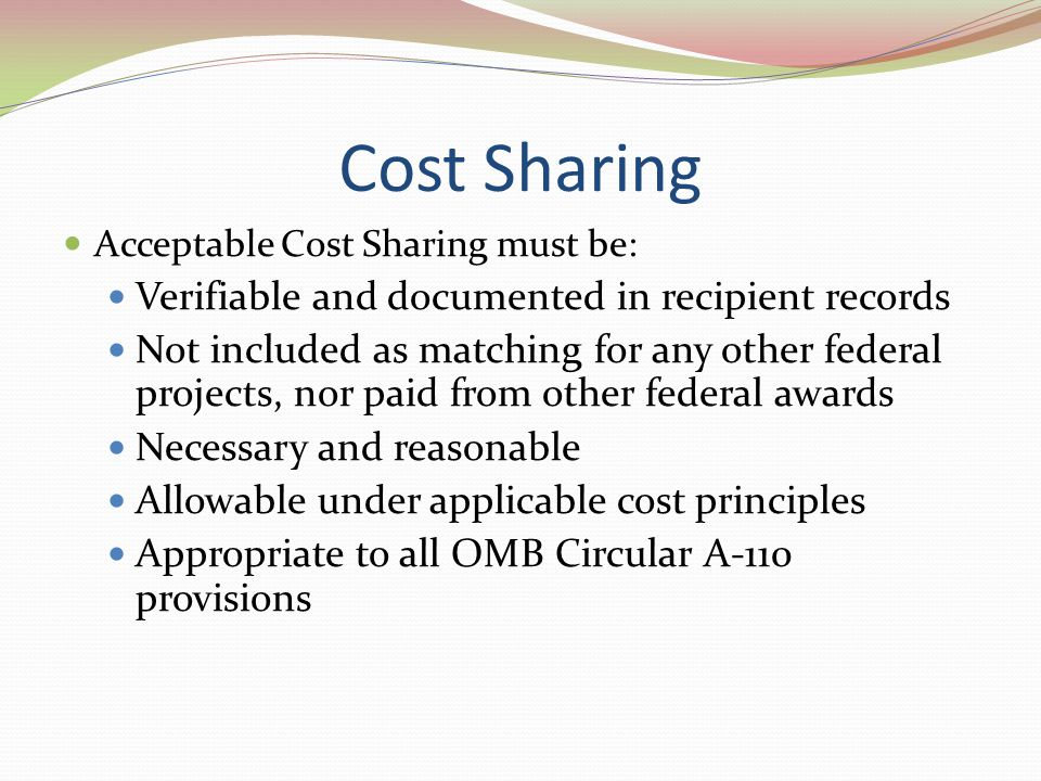 Cost Sharing Verifiable and documented in recipient records