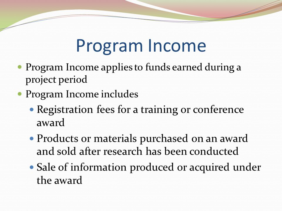 Program Income Registration fees for a training or conference award