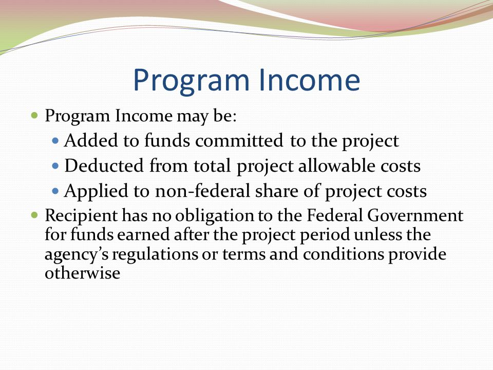 Program Income Added to funds committed to the project