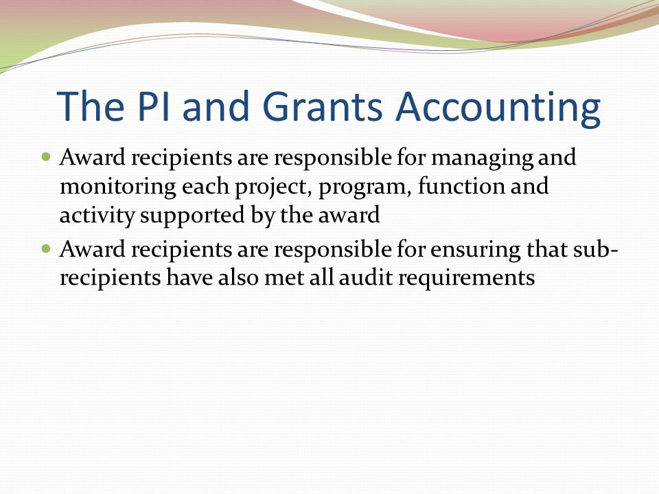 The PI and Grants Accounting