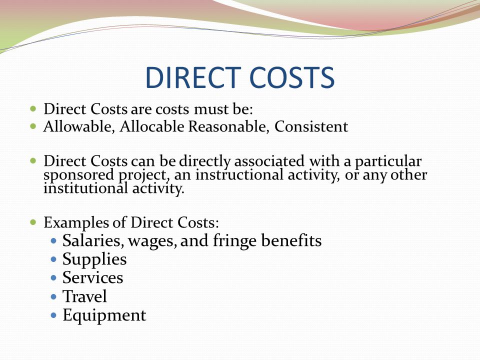 DIRECT COSTS Salaries, wages, and fringe benefits Supplies Services