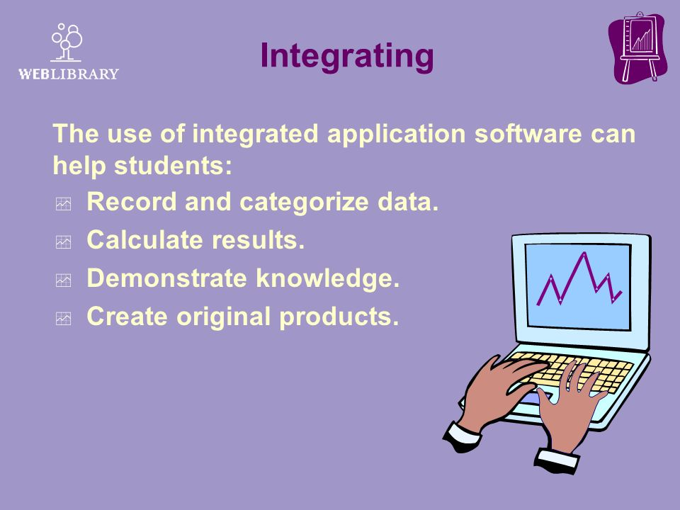 Integrating The use of integrated application software can help students: Record and categorize data.