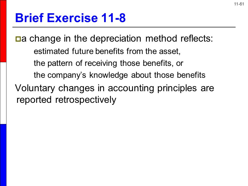 Brief Exercise 11-8 a change in the depreciation method reflects: