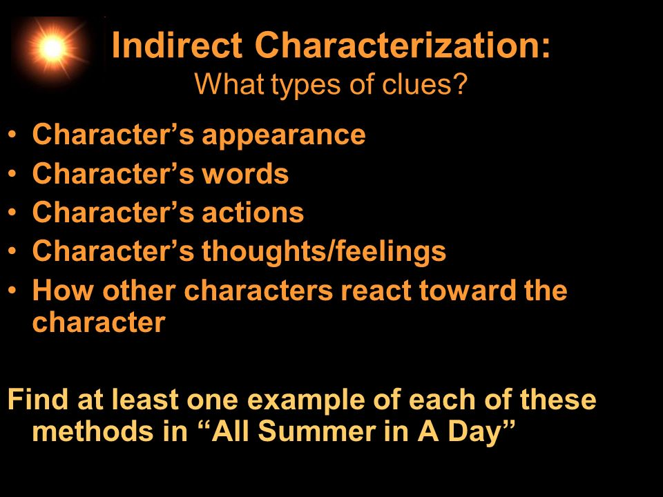 Indirect Characterization: What types of clues