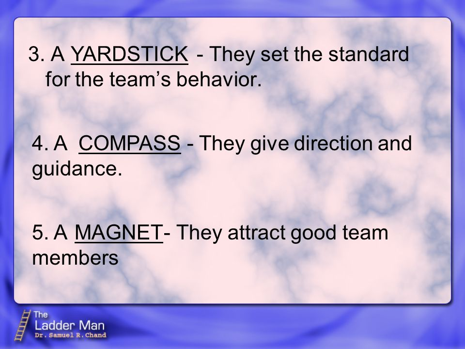 3. A - They set the standard for the team's behavior.