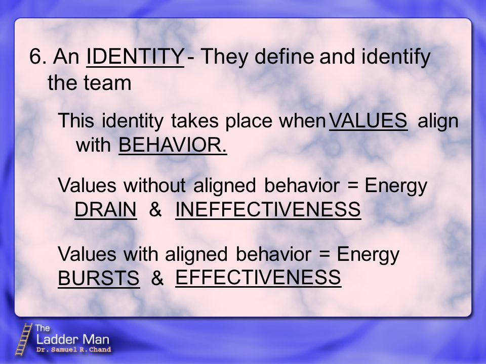 6. An - They define and identify the team IDENTITY