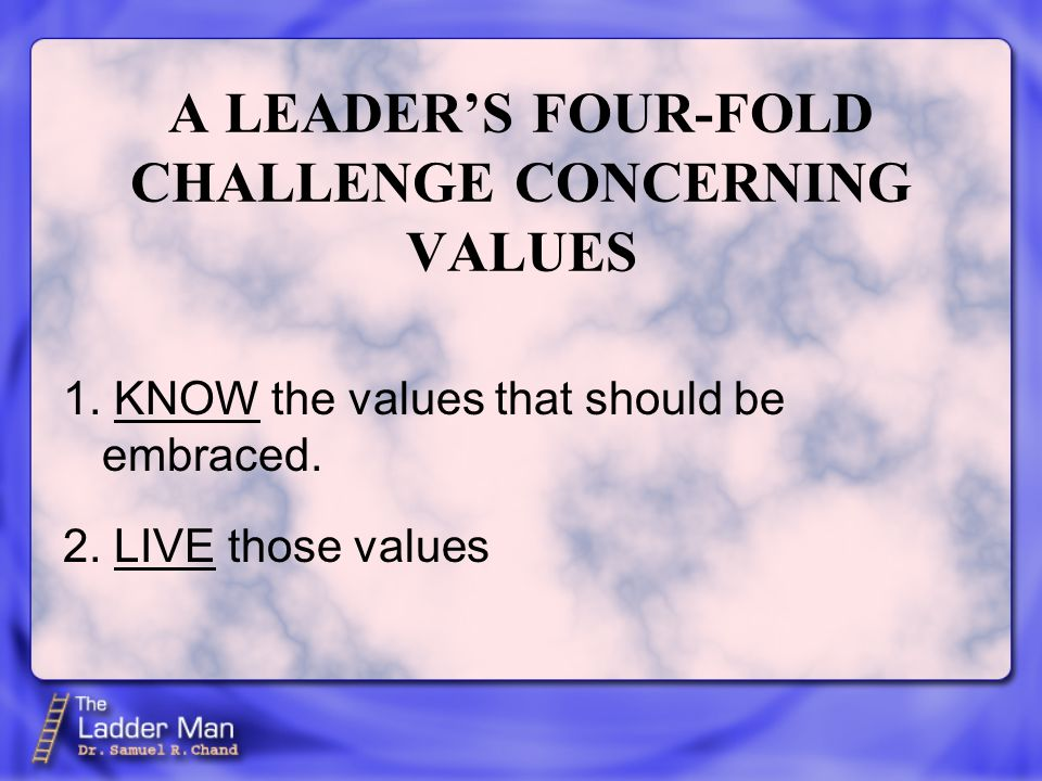 A LEADER'S FOUR-FOLD CHALLENGE CONCERNING VALUES