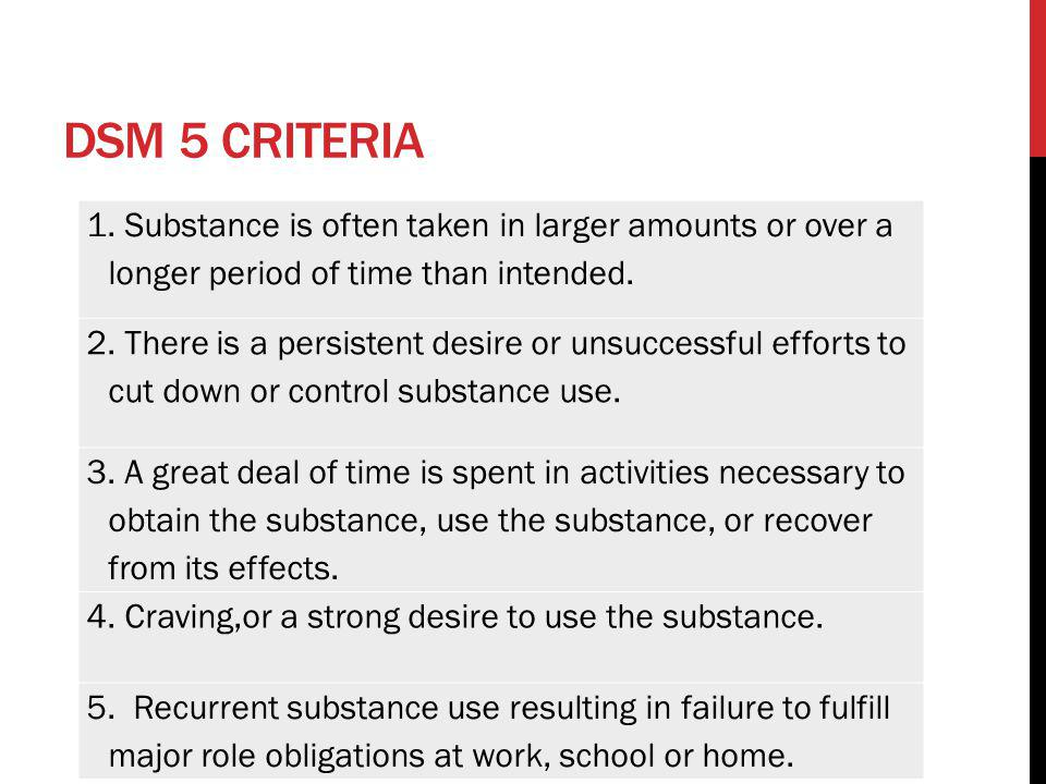 DSM 5 criteria 1. Substance is often taken in larger amounts or over a longer period of time than intended.