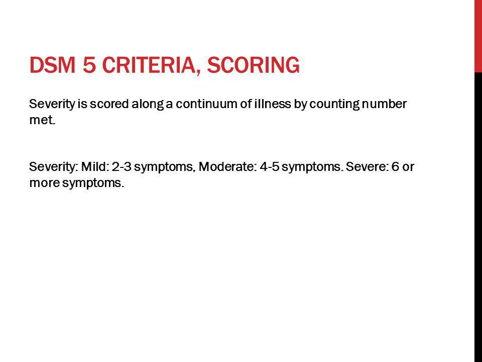 DSM 5 Criteria, scoring