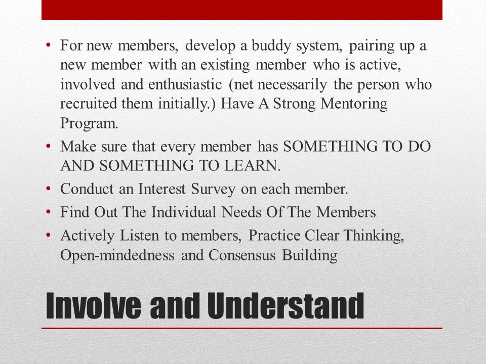 Involve and Understand