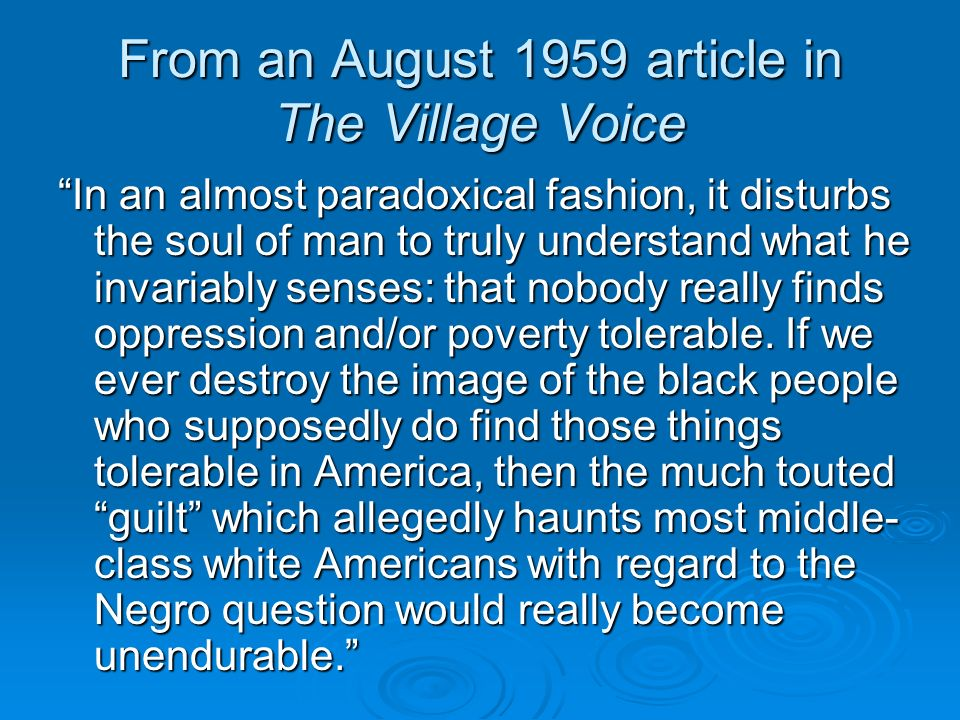 From an August 1959 article in The Village Voice