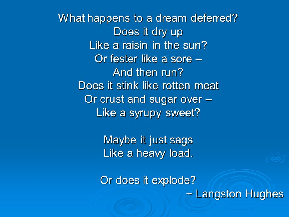 What happens to a dream deferred Does it dry up